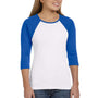 Bella + Canvas Womens 3/4 Sleeve Crewneck T-Shirt - White/True Royal Blue