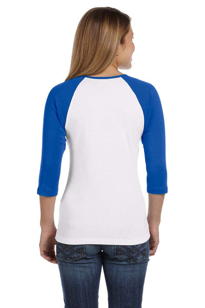 Bella + Canvas B2000 Womens 3/4 Sleeve Crewneck T-Shirt White/Royal Blue Back