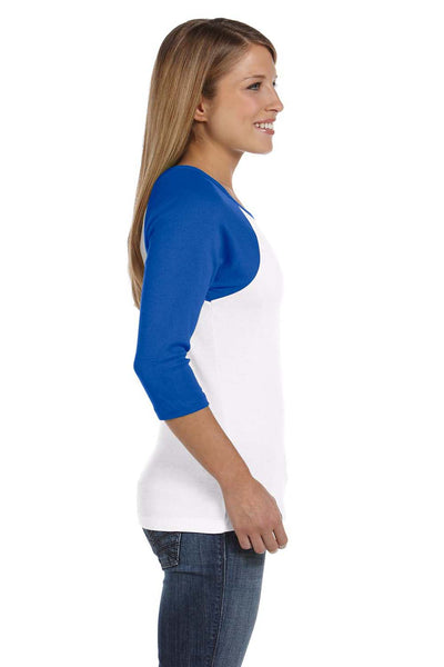 Bella + Canvas B2000 Womens 3/4 Sleeve Crewneck T-Shirt White/Royal Blue Side