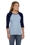Bella + Canvas B2000 Womens 3/4 Sleeve Crewneck T-Shirt Baby Blue/Navy Blue Front