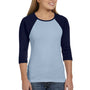 Bella + Canvas Womens 3/4 Sleeve Crewneck T-Shirt - Baby Blue/Navy Blue