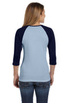 Bella + Canvas B2000 Womens 3/4 Sleeve Crewneck T-Shirt Baby Blue/Navy Blue Back