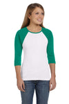 Bella + Canvas B2000 Womens 3/4 Sleeve Crewneck T-Shirt White/Kelly Green Front
