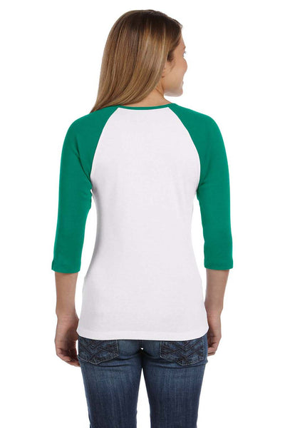 Bella + Canvas B2000 Womens 3/4 Sleeve Crewneck T-Shirt White/Kelly Green Back