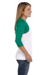 Bella + Canvas B2000 Womens 3/4 Sleeve Crewneck T-Shirt White/Kelly Green Side