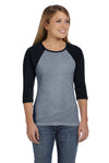 Bella + Canvas B2000 Womens 3/4 Sleeve Crewneck T-Shirt Heather Deep Grey/Black Front