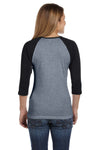 Bella + Canvas B2000 Womens 3/4 Sleeve Crewneck T-Shirt Heather Deep Grey/Black Back