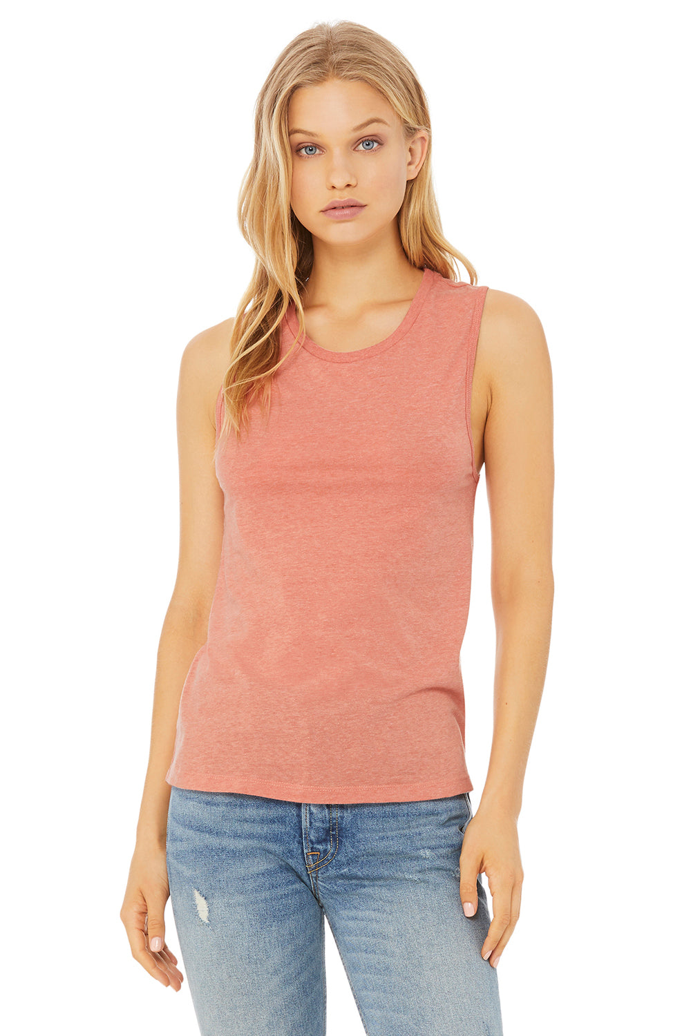Bella + Canvas B6003 Jersey Muscle Tank Top Heather Orange Front