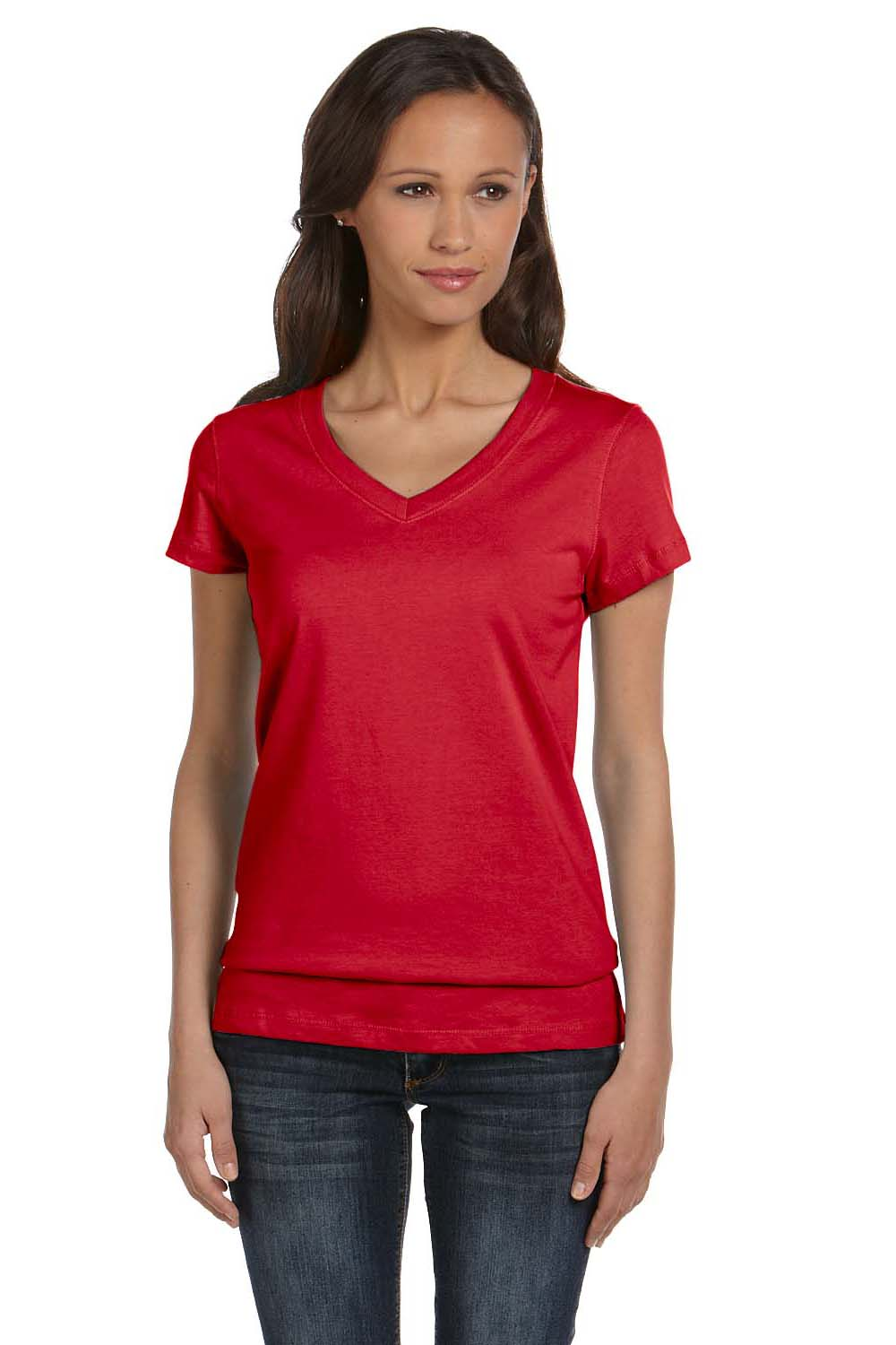Bella + Canvas B6005 Womens Jersey Short Sleeve V-Neck T-Shirt Red Front