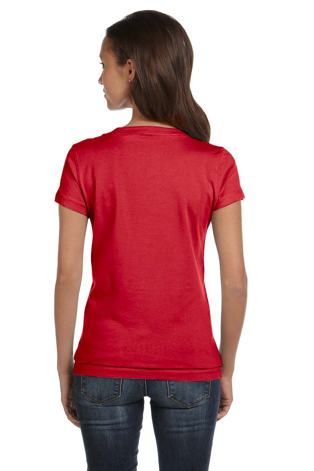 Bella + Canvas B6005 Womens Jersey Short Sleeve V-Neck T-Shirt Red Back