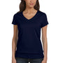 Bella + Canvas Womens Jersey Short Sleeve V-Neck T-Shirt - Navy Blue