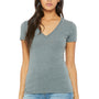 Bella + Canvas Womens Jersey Short Sleeve Deep V-Neck T-Shirt - Heather Deep Grey