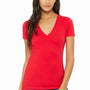 Bella + Canvas Womens Jersey Short Sleeve Deep V-Neck T-Shirt - Red