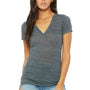 Bella + Canvas Womens Jersey Short Sleeve Deep V-Neck T-Shirt - Charcoal Grey Marble