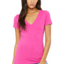 Bella + Canvas Womens Jersey Short Sleeve Deep V-Neck T-Shirt - Berry Pink