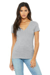 Bella + Canvas B6035 Womens Jersey Short Sleeve Deep V-Neck T-Shirt Heather Grey Front