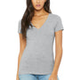Bella + Canvas Womens Jersey Short Sleeve Deep V-Neck T-Shirt - Heather Grey