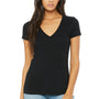 Bella + Canvas Womens Jersey Short Sleeve Deep V-Neck T-Shirt - Black