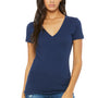Bella + Canvas Womens Jersey Short Sleeve Deep V-Neck T-Shirt - Navy Blue