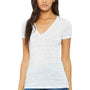 Bella + Canvas Womens Jersey Short Sleeve Deep V-Neck T-Shirt - White Marble