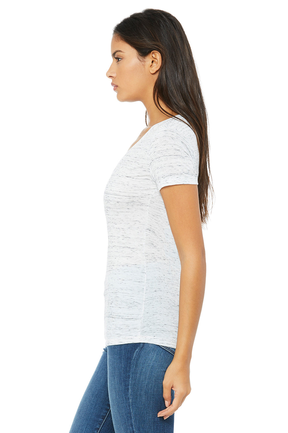 Bella + Canvas B6035 Womens Jersey Short Sleeve Deep V-Neck T-Shirt White Marble Side