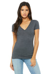Bella + Canvas B6035 Womens Jersey Short Sleeve Deep V-Neck T-Shirt Heather Dark Grey Front