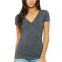 Bella + Canvas Womens Jersey Short Sleeve Deep V-Neck T-Shirt - Heather Dark Grey