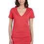 Bella + Canvas Womens Jersey Short Sleeve Deep V-Neck T-Shirt - Coral