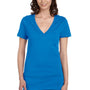 Bella + Canvas Womens Jersey Short Sleeve Deep V-Neck T-Shirt - Neon Blue