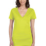 Bella + Canvas Womens Jersey Short Sleeve Deep V-Neck T-Shirt - Neon Yellow
