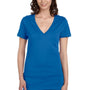 Bella + Canvas Womens Jersey Short Sleeve Deep V-Neck T-Shirt - True Royal Blue Marble