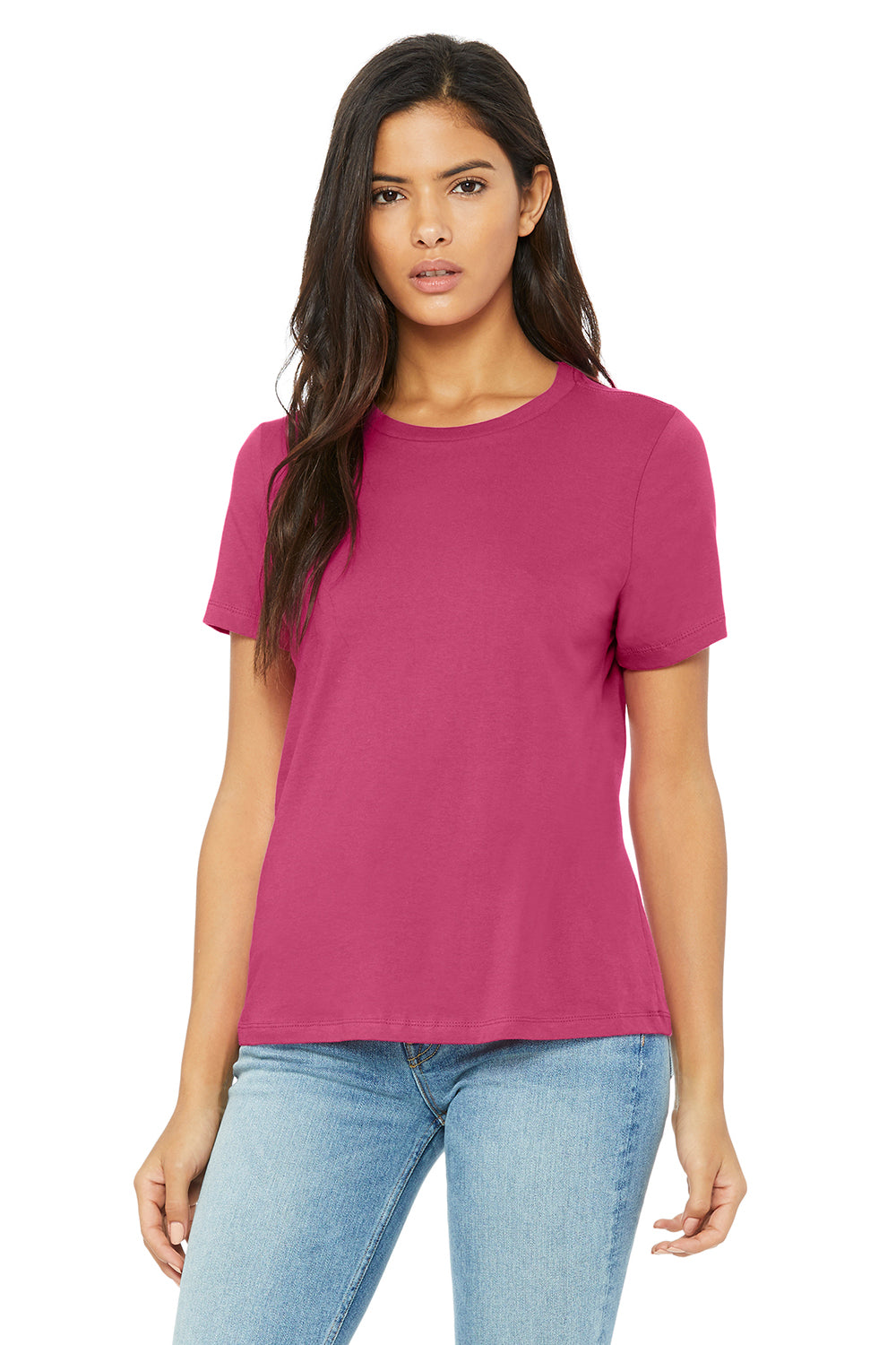 Bella + Canvas B6400 Womens Relaxed Jersey Short Sleeve Crewneck T-Shirt Berry Pink Front