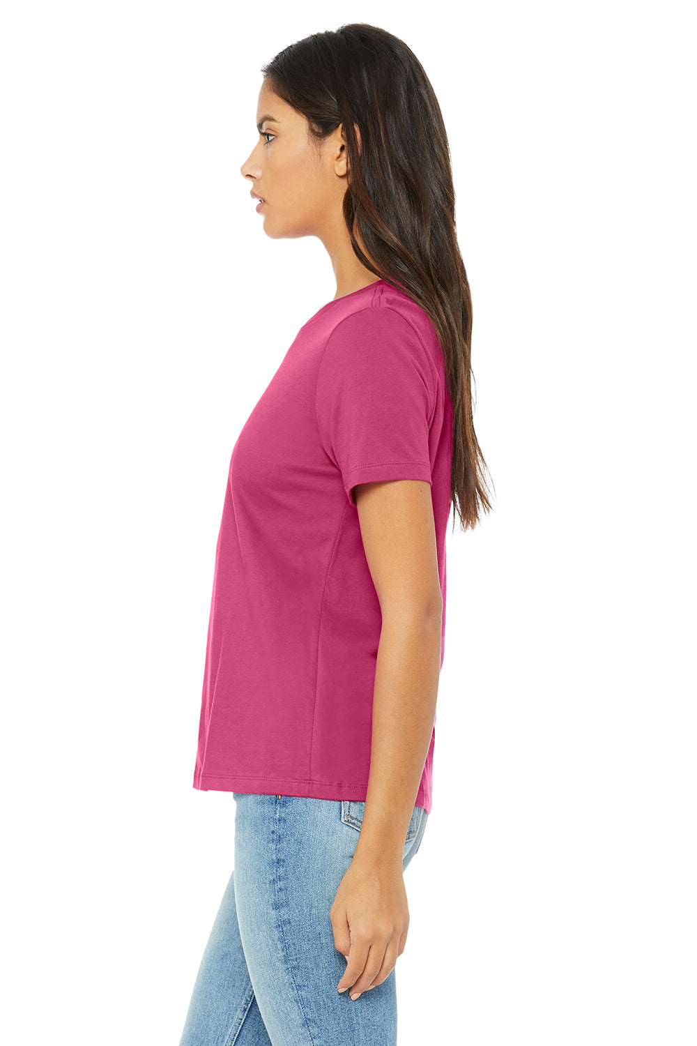 Bella + Canvas B6400 Womens Relaxed Jersey Short Sleeve Crewneck T-Shirt Berry Pink Side