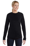 Bella + Canvas B6450 Womens Relaxed Jersey Long Sleeve Crewneck T-Shirt Black Front