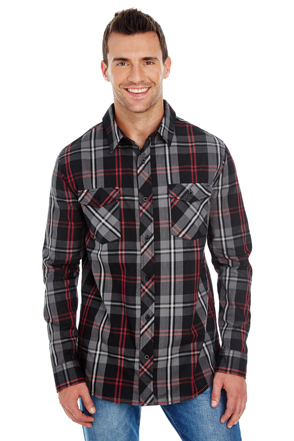 Burnside B8202 Mens Plaid Long Sleeve Button Down Shirt w/ Double Pockets Red/Black Front