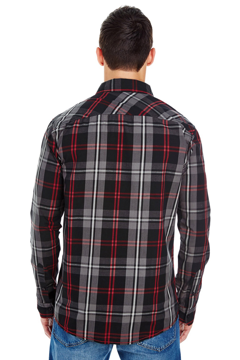 Burnside B8202 Mens Plaid Long Sleeve Button Down Shirt w/ Double Pockets Red/Black Back