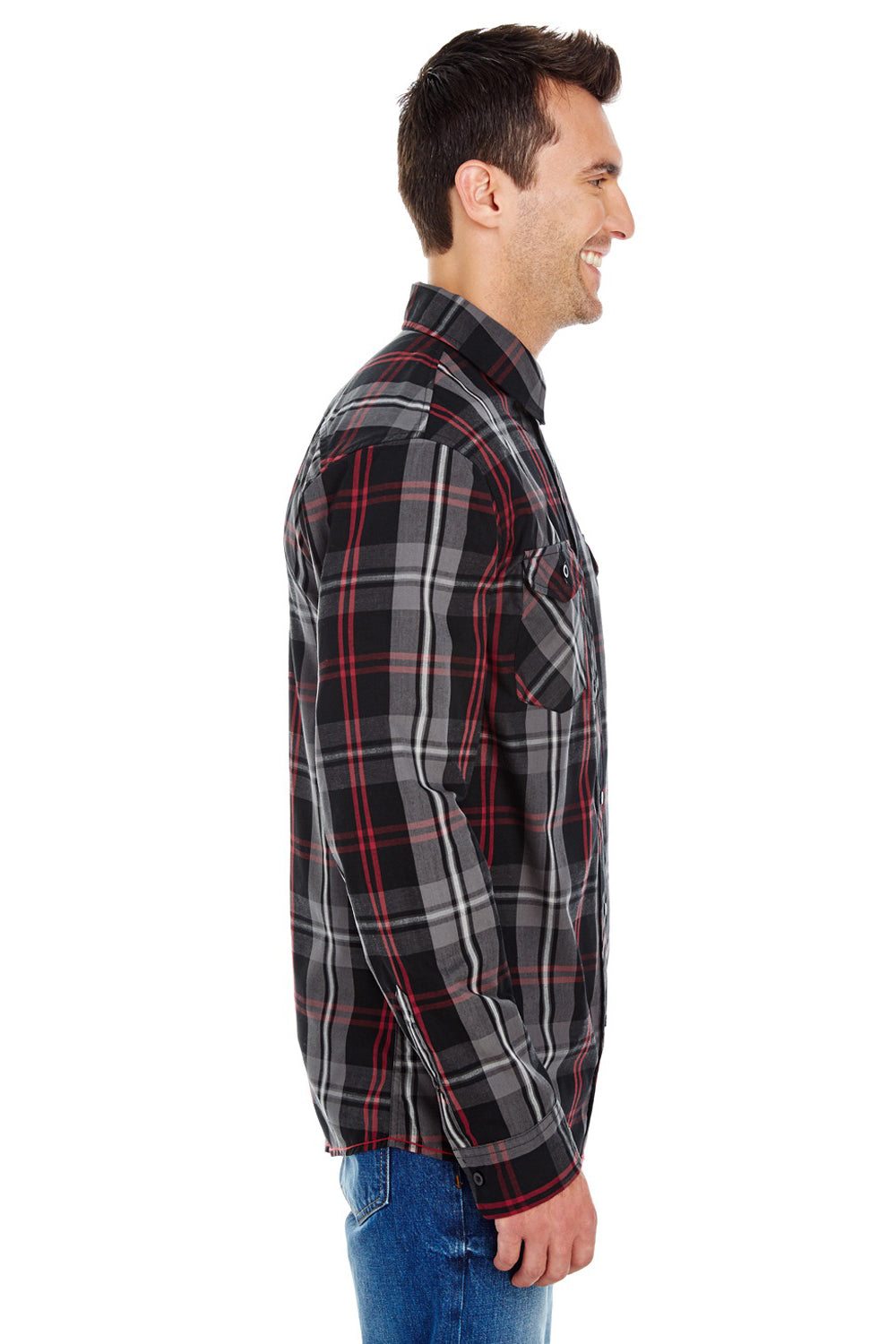 Burnside B8202 Mens Plaid Long Sleeve Button Down Shirt w/ Double Pockets Red/Black Side
