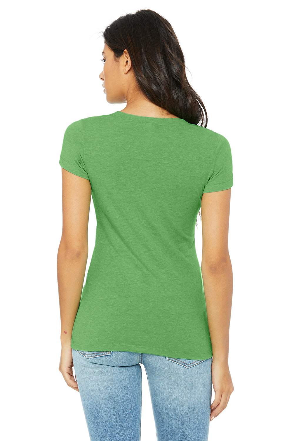 Bella + Canvas B8413 Womens Short Sleeve Crewneck T-Shirt Green Back