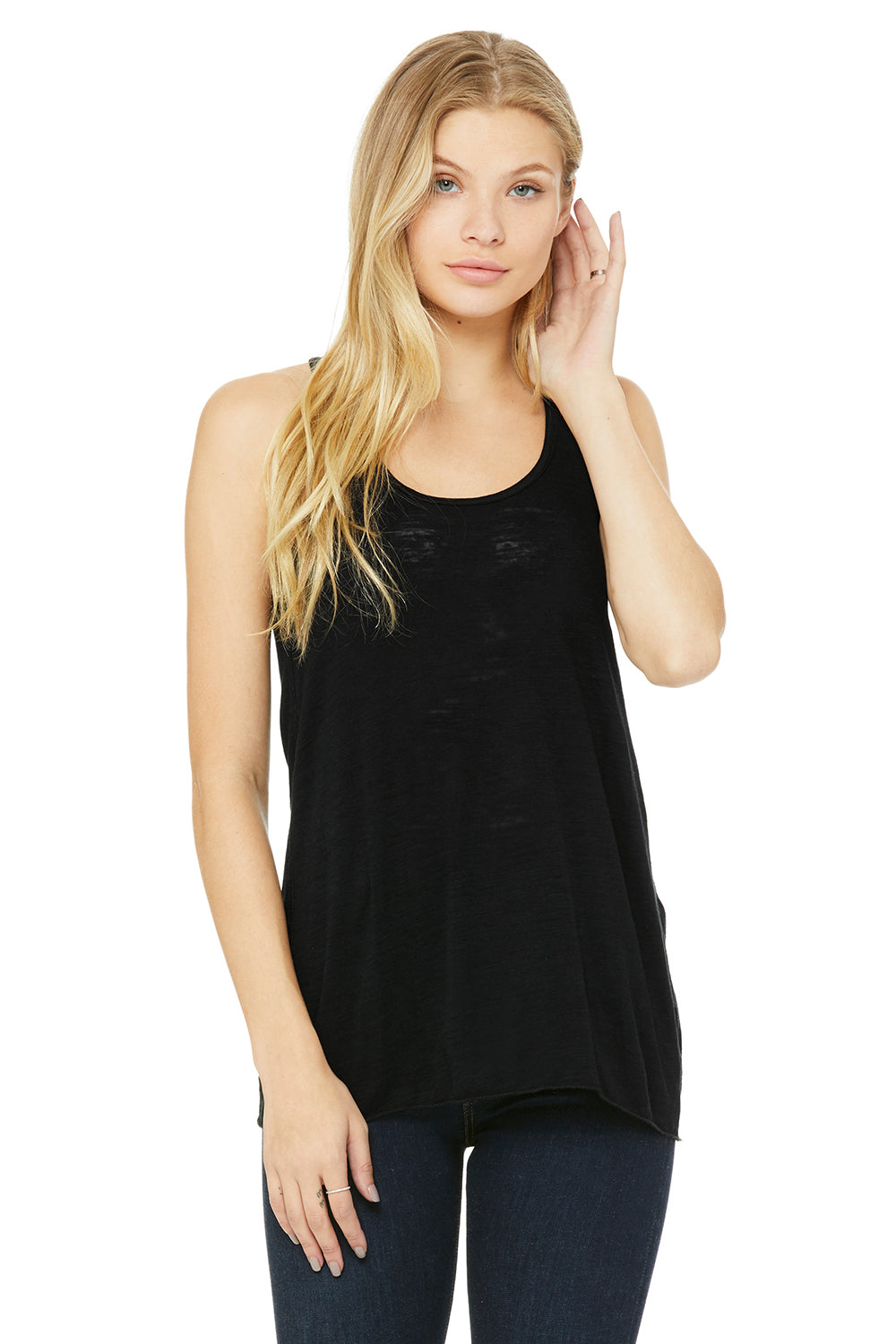Bella + Canvas B8800 Womens Flowy Tank Top Black Slub Front