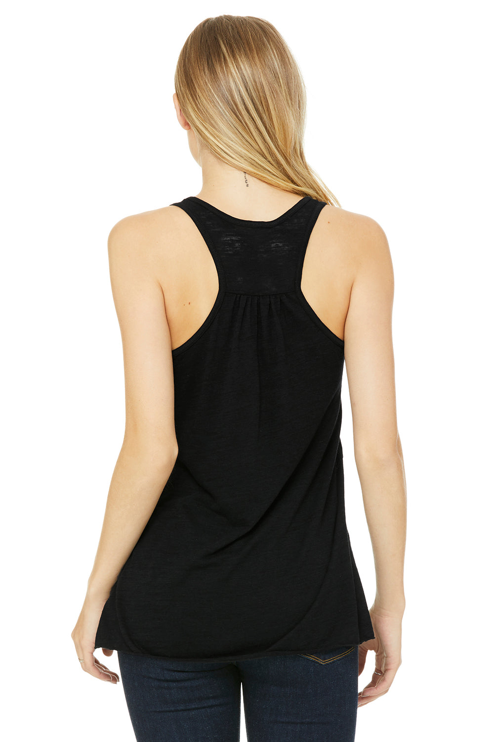 Bella + Canvas B8800 Womens Flowy Tank Top Black Slub Back