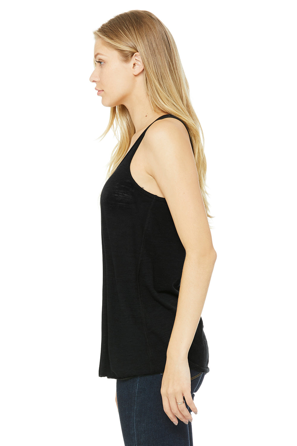 Bella + Canvas B8800 Womens Flowy Tank Top Black Slub Side