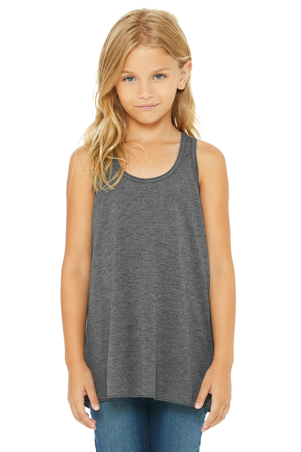 Bella + Canvas B8800Y Youth Flowy Tank Top Heather Dark Grey Front