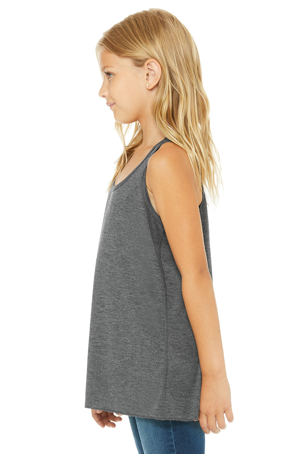 Bella + Canvas B8800Y Youth Flowy Tank Top Heather Dark Grey Side