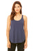 Bella + Canvas B8802 Womens Flowy Tank Top Heather Navy Blue Front