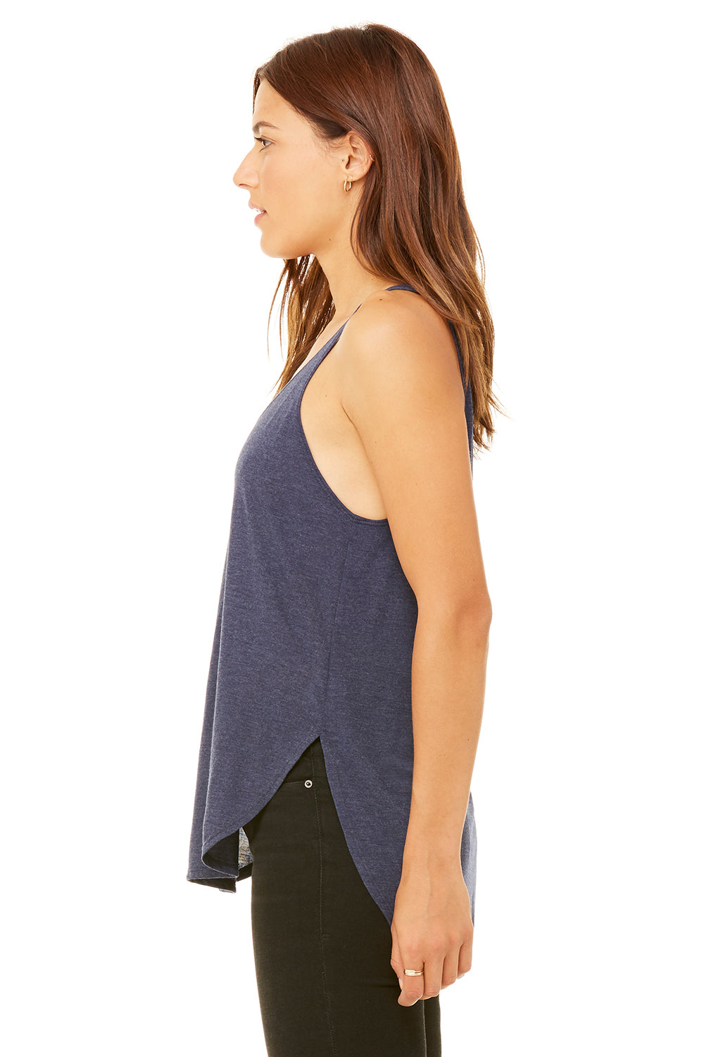 Bella + Canvas B8802 Womens Flowy Tank Top Heather Navy Blue Side