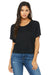 Bella + Canvas B8881 Womens Flowy Boxy Short Sleeve Scoop Neck T-Shirt Black Front