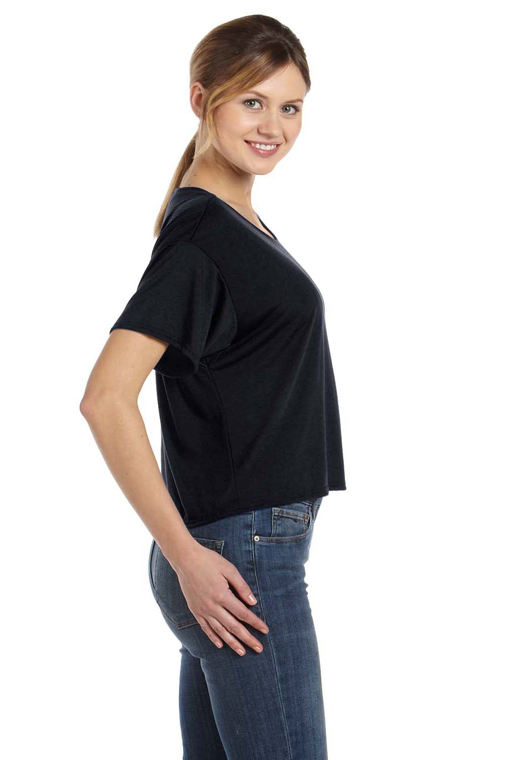 Bella + Canvas B8881 Womens Flowy Boxy Short Sleeve Scoop Neck T-Shirt Black Side