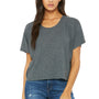 Bella + Canvas Womens Flowy Boxy Short Sleeve Scoop Neck T-Shirt - Heather Dark Grey