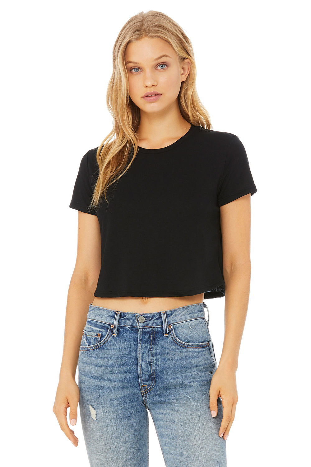 Bella + Canvas B8882 Womens Floy Cropped Short Sleeve Crewneck T-Shirt Black Front