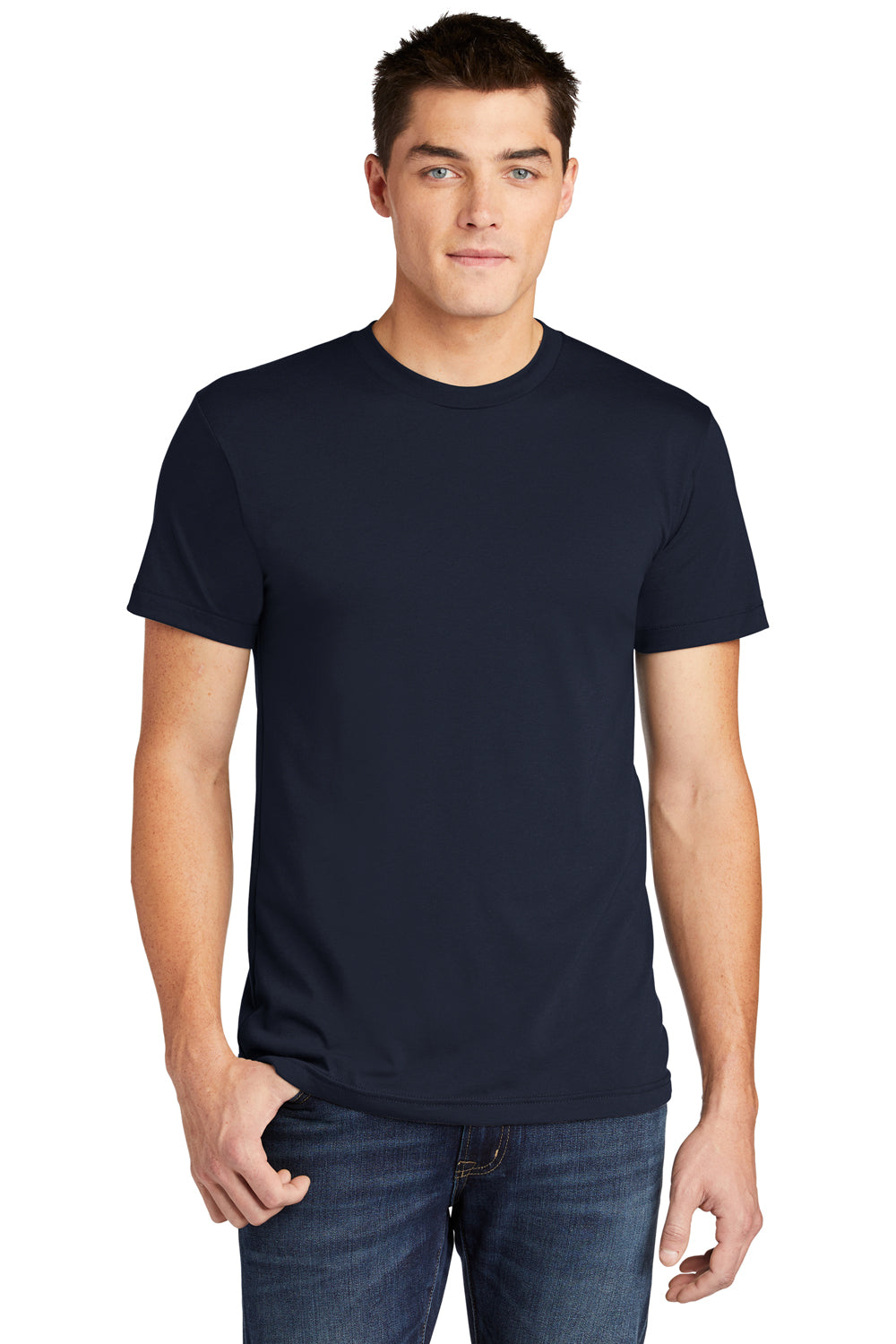 American Apparel BB401W Mens Short Sleeve Crewneck T-Shirt Navy Blue Front